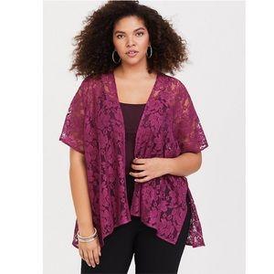 NWT Torrid Lace Burgundy Kimono